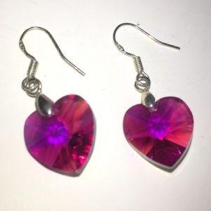 Jewelry - Hot Pink Crystal Heart/Sterling Silver Earrings